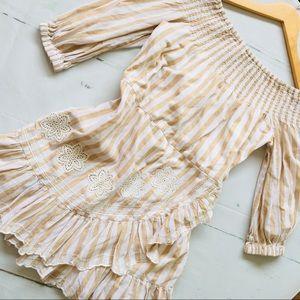 Tularosa Tan White Embroidered Dress